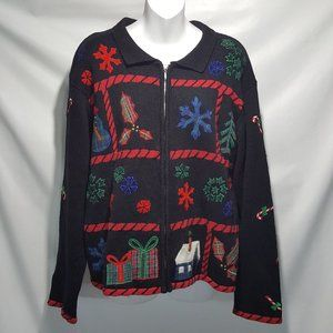 Teddy Bear 2 Sided Applique Christmas Cardigan  L